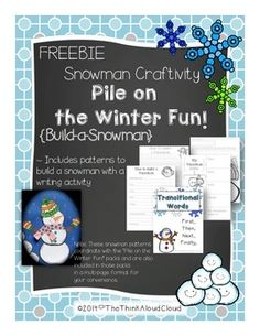 """FREE!! Winter is here! Why not enjoy a snowman craft with literacy activities to keep the kids engaged and productive while they are having fun? Even for those of us who will not likely see snow. Included in this freebie:. .....Follow for Free """"too-neat-not-to-keep"""" teaching tools & other fun stuff :)"""