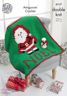 Crochet pattern for Corner to Corner Father Christmas Blanket and Snowman Amigurumi in DK by King Cole (No. Two patterns for the price of one. Blanket measures x x Snowman is approx tall. Uses King Cole Pricewise and Comfort DK yarn - Crochet Double, Knit Or Crochet, Double Knitting, Free Crochet, Christmas Crochet Blanket, Christmas Yarn, Father Christmas, Christmas Crafts, Knitting Patterns