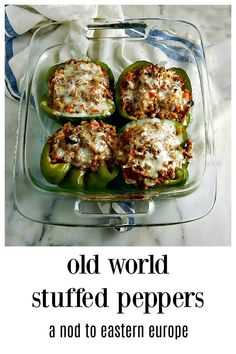 My 90-year-old Stepmom\'s secret recipe for Old World Stuffed Peppers has a secret - they\'re done in the microwave! The peppers stay fresh & gorgeous! They\'re the best I\'ve ever had and lean towards her Czech/German roots with the old world spicing. #StuffedPeppers #OldStyleStuffedPeppers #ClassicStuffedPeppers #CzechStuffedPeppers #GermanStuffedPeppers
