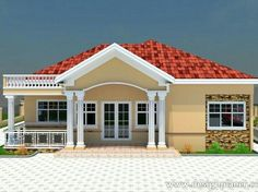 House Plans Mansion, My House Plans, Family House Plans, Modern House Plans, Bungalow Haus Design, Modern Bungalow House, Small House Exteriors, 4 Bedroom House Designs, Three Bedroom House Plan