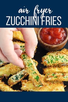 Air fryer zucchini fries are coated with a crispy parmesan panko breading and are the perfect way to use up summer zucchini! Air fryer zucchini fries are coated with a crispy parmesan panko breading and are the perfect way to use up summer zucchini! Air Fryer Oven Recipes, Air Frier Recipes, Air Fryer Dinner Recipes, Recipes Dinner, Air Fryer Recipes Videos, Air Fryer Recipes Vegetables, Healthy Vegetables, Veggies, Zucchini Pommes