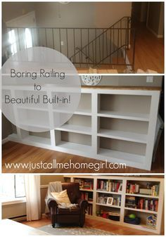 Raised Ranch Railing to Built-in Bookcase! More