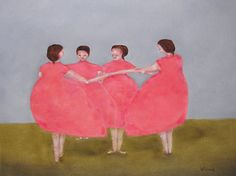Women figure painting art print. Digital print of original oil painting. Mellon Sisters, family portrait