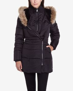 This Hooded Parka is made of polyester and filled with down and feathers. It has a front and a side zipper closure and a high, comfortable collar. The hood is styled with a faux-fur trim and a zipper. This coat has a trendy look that will keep you warm all winter.