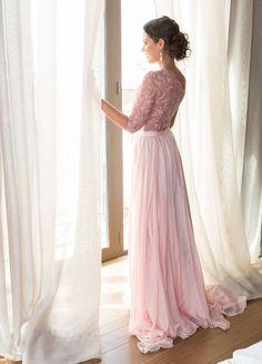 vestido largo en rosa (modelo villa de Silvia Navarro)