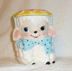 Vintage Anthropomorphic 'Rubens Original Ceramic' Easter Lamb Cookie Jar Brinnco