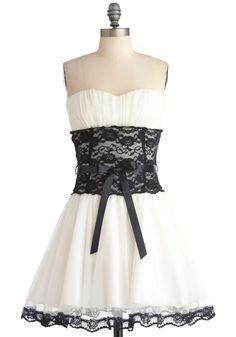 Storied Romance Dress - Short, Party, Fairytale, White, Black, Lace, Wedding, A-line, Strapless, Solid, Bows, Trim, Prom, Mini