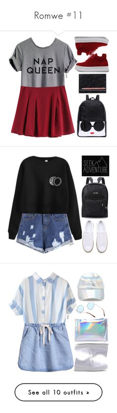 """""""Romwe #11"""" by oliverab ❤ liked on Polyvore featuring romwe, schoolgirl, blackandyellow, WithChic, Forever 21, blueandwhite, Elegant, classy, NIKE and grey"""