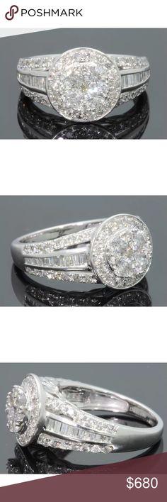 Gorgeous 1.5 carat 10k white gold diamond ring Gorgeous 1.5 carat 10k white gold diamond ring! G color/SI1 clarity diamonds! Retail over $2000! Jewelry Rings