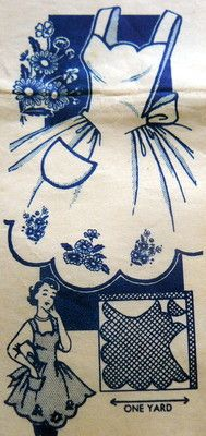 1950's sewing pattern for embroidered apron using one yard of fabric.