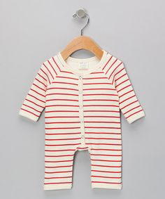 477c6a7fc9fa Neutral White  amp  Red Stripe Organic Playsuit - by SoftBaby Red Stripes