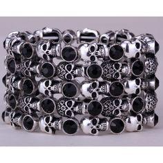 Skull skeleton stretch bracelet for women