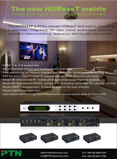 PTN's latest HDBaseT Matrix Switcher - MHD44TP Instant Display, Home Automation System, Electronics, Digital