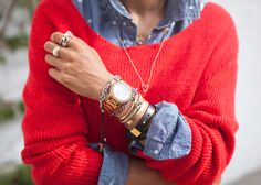 Red sweater & polka dot denim shirt