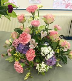 FLOWER ARRANGEMENT: Gerbera (Kermit), Euonymus, Rose, Carnation, Hydrangea, Alstroemeria & Sweet William. THEME: June is bursting out all over. BY: Graham Harmer on 17/06/2015