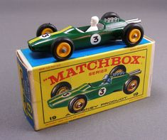 Lotus Racing Car toy with box, a Matchbox Series scale play vehicle, United Kingdom, 1966, by Lesney Productst and Co., Ltd.