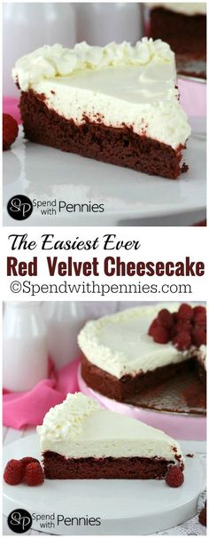 This is one of the easiest Red Velvet Cheesecake recipes you'll find! A simp… This is one of the easiest Red Velvet Cheesecake recipes you'll find! A simple Red Velvet cake topped with a deliciously quick no-bake cheesecake! Easy Red Velvet Cheesecake Recipe, Red Velvet Recipes, Red Velvet Desserts, Red Velvet Cheese Cake Recipe, Easy Cheesecake Recipes, No Bake Cheesecake, Red Velvet Cheesecake Factory, Red Velvet Cheesecake Cupcakes, Birthday Cheesecake