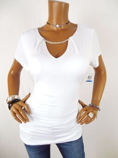 INC Womens Top XL NWT White Shirt Stretch V Neck Keyhole w/Metal Casual Short Sl #INCInternationalConcepts #Blouse #Casual