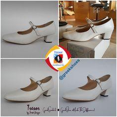 ☆ 🇬🇷 Χειροποίητη Παραδοσιακή Γόβα Μπαρέτα σε λευκό δέρμα με ντυμένο τακούνι 💕  #TresorbyYiannisXouryas #MakeTheDifference #Handmade #GreekShoes #GreekSandals #Γυναικεία #Υποδήματα Πολυτελείας & Μεγάλα Μεγέθη (42-45) #Παραδοσιακά Υποδήματα Χορού  ✔ Παραγγελίες και αποστολή πανελλαδικά με αντικαταβολή μέσω ΕΛΤΑ Courier ΠΟΡΤΑ-ΠΟΡΤΑ Folklore, Character Shoes, Dance Shoes, Footwear, Traditional, Handmade, Fashion, Dancing Shoes, Moda