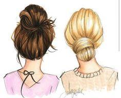 Billedresultat for bff girls cartoon Best Friend Drawings, Bff Drawings, Drawing Sketches, Drawing Of Best Friends, Best Friend Sketches, Brush Drawing, Drawing Ideas, Braid Hairstyles, Girl Hairstyles
