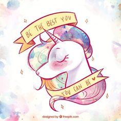 Fondo de bonito unicornio de acuarela y cinta con mensaje Vector Gratis