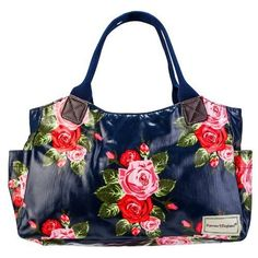 Time for some spring shopping with this Forever England Sophie Rose oilcloth rose tote bag in navy blue | eBay