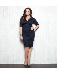 "Absolutely adore the new ""Dark Sky Navy"" shade of our bestselling Betsey Ruched Dress from Kiyonna. Great for a wedding guest or MOB! 