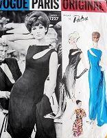 1960s AVANT GARDE PATOU Evening Gown Cocktail Dress Pattern Vogue Paris Original 1227 Eye Catching Cut Out Bodice Bust 31 Vintage Sewing Pattern
