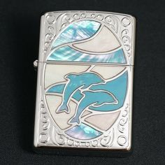 ZIPPO Lighter SHELL DOLPHIN Silver WH/BL Shell Inlay Japan Model