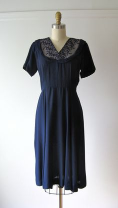 vintage 1940s dress / 40s dress / Blue Bonny by Dronning on Etsy