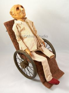 Walter:  Sad Worried Art Doll - #ooak #bentwhimsstudio #artdoll #darkart  #sculpture #creepydoll