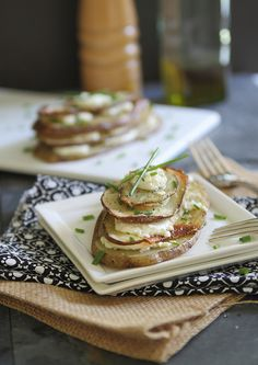 Goat cheese and chive potato stacks