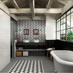 Dolce Cube porcelain bathroom tiles from Piazza tiles | Bathroom flooring | Bathrooms | PHOTO GALLERY | Livingetc | Housetohome.co.uk
