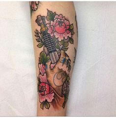 star wars light saber and flowers.