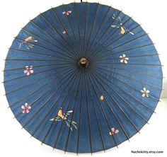 1930s Asian Umbrella Handpainted Bamboo Frame by Nachokitty, $48.00