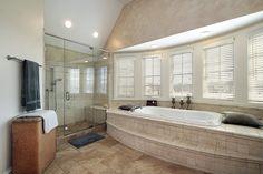 Bathroom  Stylish Frameless Shower Door Plus Oversized Drop In Bathtub Plus Black Pillows Feat Roller Bay Window Blind Frameless Shower Doors Complete the Captivating Master Bathroom Interior Design