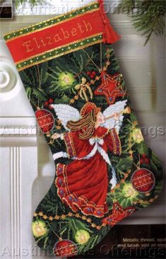 Linda Green Herald Angel Christmas Stocking Needlepoint Kit Gold