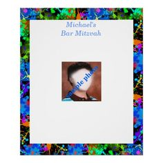 Shop Bar Mitzvah Photo Sign in Board created by longdistgramma. Bar Mitzvah Party, Custom Posters, Purple Yellow, Blue Green, Custom Framing, Colorful Backgrounds, Vibrant, Invitations, Bottle Labels