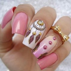 Pink and white dream catcher native american feather fingernail art design Acrylic Gel Nails - Summer Fall Nail Designs - Cute Fingernail Art Ideas Nail Art Designs, Pretty Nail Designs, Acrylic Nail Designs, Acrylic Nails, Gel Nails, Nail Polish, Art Clipart, Image Clipart, Dream Catcher Nails