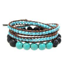 Bracelet wrap turquoise 2 tours lien cuir naturel marron + Bracelet Turquoise : Bracelet par bracelets