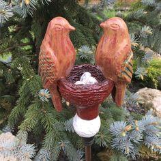 Garden Totems, Garden Stakes, Bird Sculpture, Garden Sculpture, Color Glaze, Ceramic Figures, Ceramic Birds, Ceramic Design, Garden Ornaments