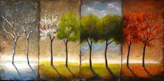 """Four Seasons"" by Brenda Gordon. Four Seasons Painting, Four Seasons Art, Different Seasons, Easy Canvas Painting, Square Canvas, Garden Painting, Co Working, Mini Paintings, Retro Art"