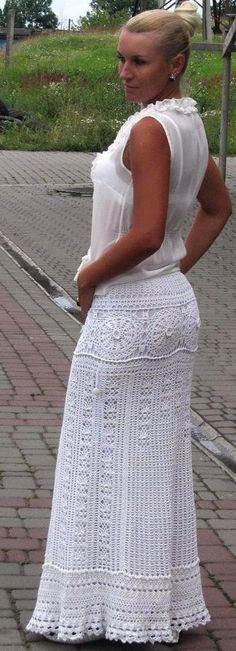 White maxi skirt by TaramayKnit on Etsy