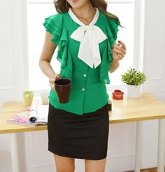 Refreshing Style Single-Breasted Ruffles Chiffon Shirt For Women (GREEN,XL) | Sammydress.com ...great with an underbust corset.