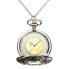 Sale 28% (4.59$) - Antique Hollow Petals Gold Color Dial Quartz Pocket Watch Necklace Chain Gift