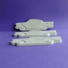 57 Chevy set of 3 unpainted craft ornaments