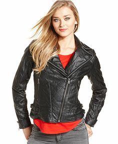 GUESS Jacket, Quilted Faux-Leather Chain-Trim Moto - Jackets & Blazers - Women - Macy's