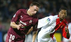 Franck Ribéry (FC Metz, 2004–2005, 20 apps, 1 goal) and Patrice Evra (AS Monaco FC) during a match between FC Metz and AS Monaco FC.