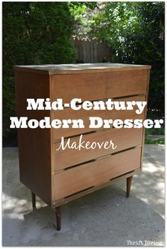 This Mid-Century Modern Dresser makeover almost didn't happen. When it came from the thrift store, it smelled, was worn out, and just NASTY, really. But DIY is like magic fairy dust to old thrifted furniture! With a bright white paint, tung oil, and a sander, this mid-century modern dresser got a second chance at life! | Thrift Diving