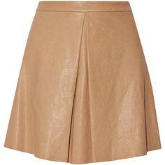 Alice + Olivia Russo pleated leather mini skirt ($335) ❤ liked on Polyvore featuring skirts, mini skirts, tan, tan mini skirt, elastic waist skirt, tan skirt, short skirts and pleated skirt